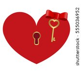 icon red heart shaped lock with ... | Shutterstock .eps vector #555036952
