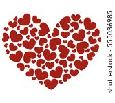 icon heart made of red hearts... | Shutterstock .eps vector #555036985