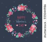 floral boho wreath  valentine's ... | Shutterstock .eps vector #555044986