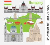 hungarian city sights in... | Shutterstock .eps vector #555047008