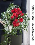valentines bouquet of red roses ... | Shutterstock . vector #555047302