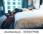 Stock photo woman tourist backpacker relax in high quality hotel room 555047908