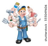 a cartoon handyman holding lots ...