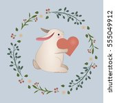 vintage rabbit with heart in... | Shutterstock .eps vector #555049912