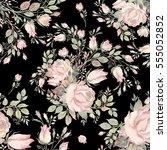 seamless pattern bouquet bud... | Shutterstock . vector #555052852
