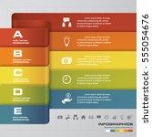 simple editable 5 steps chart... | Shutterstock .eps vector #555054676