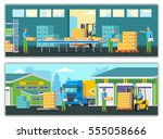warehouse horizontal banners... | Shutterstock .eps vector #555058666