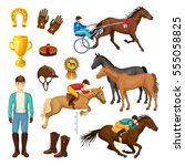 equestrian cartoon elements... | Shutterstock .eps vector #555058825
