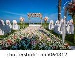 outdoor wedding ceremony... | Shutterstock . vector #555064312