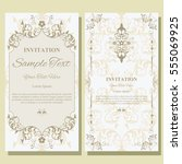 invitation card with floral... | Shutterstock .eps vector #555069925