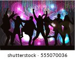 dancing people silhouettes.... | Shutterstock .eps vector #555070036