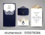 wedding invitation or greeting... | Shutterstock .eps vector #555078286