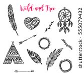 hand drawn elements with in... | Shutterstock .eps vector #555079432