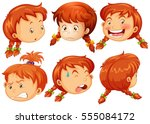 girl with different facial... | Shutterstock .eps vector #555084172