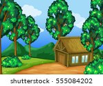 wood cabin in the forest... | Shutterstock .eps vector #555084202