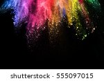 abstract colored dust explosion ... | Shutterstock . vector #555097015