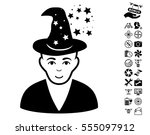 magic master pictograph with... | Shutterstock .eps vector #555097912