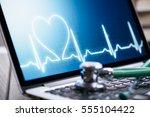 healthcare online. stethoscope...   Shutterstock . vector #555104422