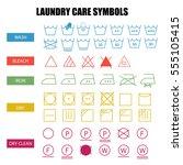 laundry care symbols set. wash  ... | Shutterstock .eps vector #555105415