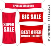 red textile sale banners with... | Shutterstock .eps vector #555111826