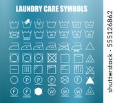 laundry care symbols set. wash  ... | Shutterstock .eps vector #555126862