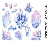 hand drawn watercolor crystals... | Shutterstock . vector #555129082