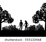 zombie walks out of the woods... | Shutterstock .eps vector #555133468