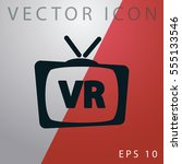 tv box icon with vr icon. | Shutterstock .eps vector #555133546