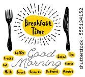 breakfast time logo  fork ... | Shutterstock .eps vector #555134152