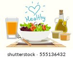 eating salads to you healthy.... | Shutterstock .eps vector #555136432