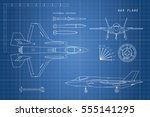 drawing of military aircraft.... | Shutterstock .eps vector #555141295