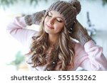 young cute woman with long hair ... | Shutterstock . vector #555153262