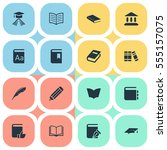 set of 16 simple education... | Shutterstock .eps vector #555157075