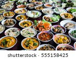 many variety  various thai food ... | Shutterstock . vector #555158425