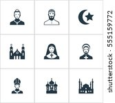 set of 9 simple faith icons.... | Shutterstock . vector #555159772