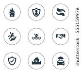 set of 9 simple guarantee icons.... | Shutterstock . vector #555159976