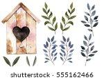 watercolor hand drawn... | Shutterstock . vector #555162466
