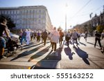 crowd of anonymous people... | Shutterstock . vector #555163252