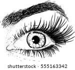 eyes beautiful young girl... | Shutterstock . vector #555163342