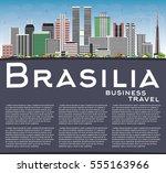 brasilia skyline with gray...   Shutterstock .eps vector #555163966