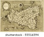 sicily old map  may be... | Shutterstock . vector #55516594