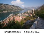 kotor bay and old town from... | Shutterstock . vector #555169462