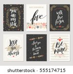 vector set of valentine's day... | Shutterstock .eps vector #555174715