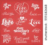 valentine's day typography... | Shutterstock .eps vector #555182668