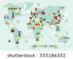 world travel map. vector... | Shutterstock .eps vector #555186352