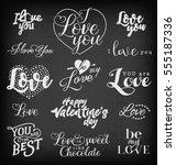valentine's day typography... | Shutterstock .eps vector #555187336