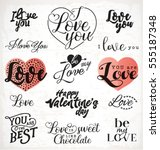 valentine's day typography... | Shutterstock .eps vector #555187348
