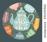 tea kinds poster   vector... | Shutterstock .eps vector #555195502