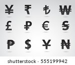 currency symbols on white... | Shutterstock .eps vector #555199942