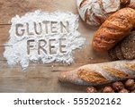 gluten free bread on wooden... | Shutterstock . vector #555202162